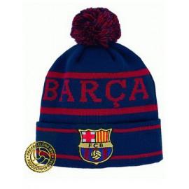 Барселона шапка с помпоном сине-гранатовая Арт.004
