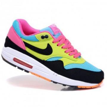 Кроссовки Nike Air Max 87 черн/голубой/салатовый/розовый